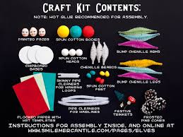 christmas elf craft kit diy retro spun cotton and pine cone