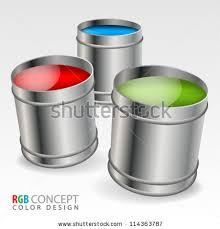 3d render paint cans colors stock illustration 572046859