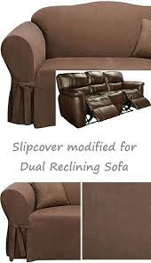 reclining sofa slipcover grey suede gray cover adapted dual