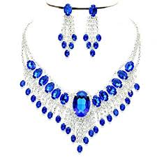 rhinestone necklace set images Affordable wedding jewelry royal blue clear rhinestone jpg