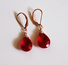 ruby drop earrings ruby quartz dangle drop earrings wedding jewelry bridal sold