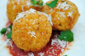 saffron arancini rice balls stuffed w fresh mozzarella