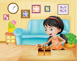 a opening her gift in living room u2014 stock vector