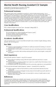 Resume Core Qualifications Examples by Mental Health Nursing Assistant Cv Sample Myperfectcv