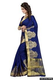 bollywood party latest designer beautiful navy blue color art silk