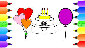 how to draw happy birthday cake and balloons coloring pages for