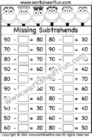 subtraction u2013 missing subtrahends free printable worksheets