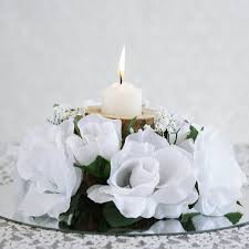 Candle Rings 24 Artificial Roses Flowers Candle Rings Centerpieces Wedding