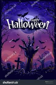 halloween background template halloween background zombie hand cemetery view stock vector
