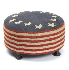 Country Ottomans by Betsy Ross Recycled Kilim American Flag Round Cocktail Ottoman