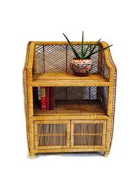 vintage rattan bookcase shelf bamboo storage stand by studio180
