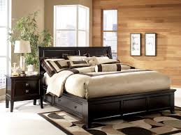 Platform Bed King Sized Retro Black Stained Wooden King Platform Bed With Sleigh Headboard
