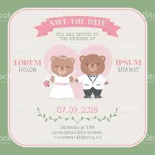 You Are Invited Card Cute Bear Couple Cartoon Illustration For Wedding Invitation Card
