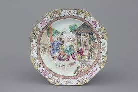 mandarin porcelain a porcelain octagonal mandarin plate qianlong 18th c