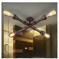 copper pipe light fixture copper american vintage loft wrought iron water pipe ceiling lights