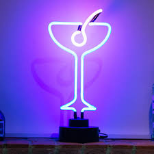 cocktail shape neon light with base sculpture night lamp led light