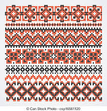ukraine pattern vector embroidered good like handmade cross stitch ethnic ukraine vector