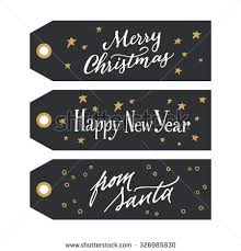 calligraphic design gift tags messages merry stock vector 326985830