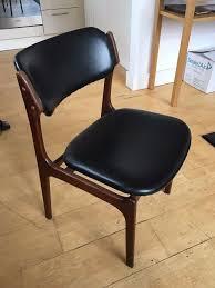 dining chair erik buch model 49 teak wood black leather