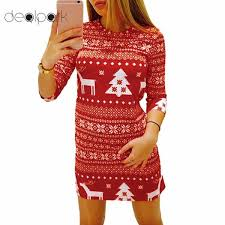 2018 New Women Autumn Winter Christmas Dress Print Santa Reindeer Tree
