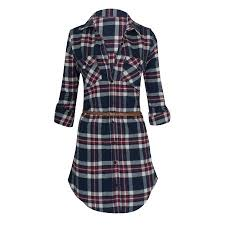 women u0027s long sleeve button down plaid flannel belted tunic shirt