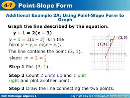 holt mcdougal algebra 1 4 7 point slope form additional example 2a using