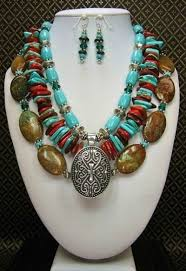 turquoise necklace set images Lomira southwest western ethnic cowgirl necklace set png