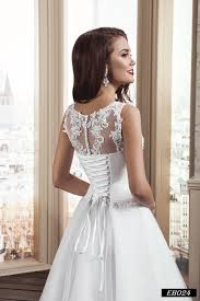 illusion neckline wedding dress eb024 sleeveless illusion neckline wedding dress with lace up back