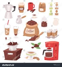 espresso coffee clipart coffee drink cartoon pot devices morning stock vector 731031040