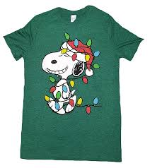 snoopy christmas t shirt peanuts snoopy wrapped in christmas lights green
