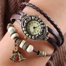 leather bracelet girl images Handmade vintage quartz weave around leather bracelet lady woman