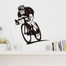 Cycling Home Decor Cyclists Ride His Bike Vinyl Wall Sticker Interesting Cycle