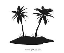 silhouette palm tree island vector