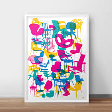 iconic chairs signed art prints by yoni alter u2014 shapes of iconic chairs double