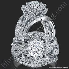 lotus engagement ring the large lotus swan band flower ring set bbr626 1