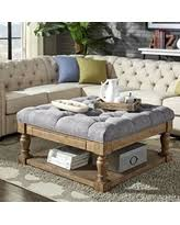 Tufted Cocktail Ottoman Amazing Deal On Lennon Baluster Pine Storage Tufted Cocktail