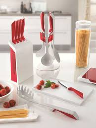 Red Kitchen Utensil Set - guzzini my kitchen utensil carousel set modern red utensil set