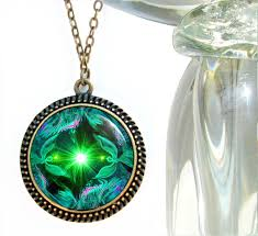 unique jewelry green heart chakra necklace reiki energy pendant angel