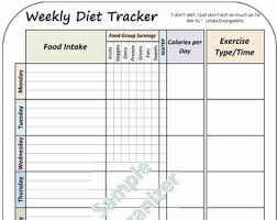 printable weight loss diet chart printable diet plan etsy