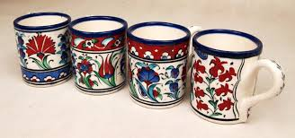 handmade mugs set of 4 floral mosaic ceramic handmade traditional turkish