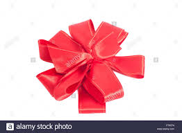 big present bow big satin gift bow ribbon isolated on white background stock