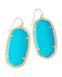 turquoise gemstone danielle turquoise statement earrings in gold kendra scott