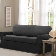 Charcoal Slipcover Maytex Conrad Stretch Fabric 2 Piece Sofa Slipcover Free