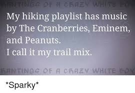 eminem playlist my hiking playlist has music by the cranberries eminem and peanuts i