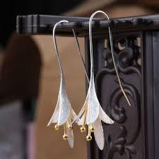 Long Chandelier Earrings Dangle Earrings 925 Sterling Silver Long Flower Earrings For Women New Design