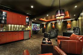 Man Cave Sofa by Cool Man Cave Ideas With Black Sofa And Red Sofa And Television