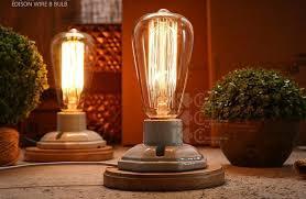 vintage wood porcelain table lamp in industrial loft style edison