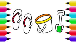 beach u0027s stuff coloring pages how to draw beach sandals bucket