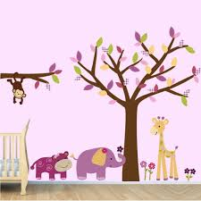Jungle Nursery Wall Decor Vinyl Tree Wall Decals Tree Jungle Stickers Lil