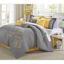 Yellow And Grey Bed Set Park Grey And Yellow Flower Printed Cotton